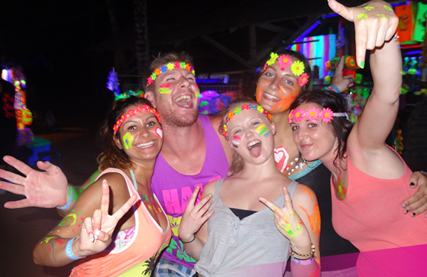 Travellers enjoy the Full Moon Party in Koh Phangan