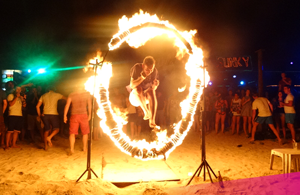 Jump through the ring of fire in Koh Phi Phi