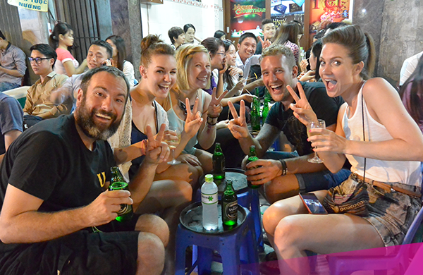 Welcome drinks in Hanoi.