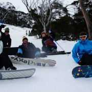Taking a much needed rest on the slopes of Thredbo.