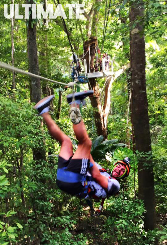 Zip lining through the rainforest