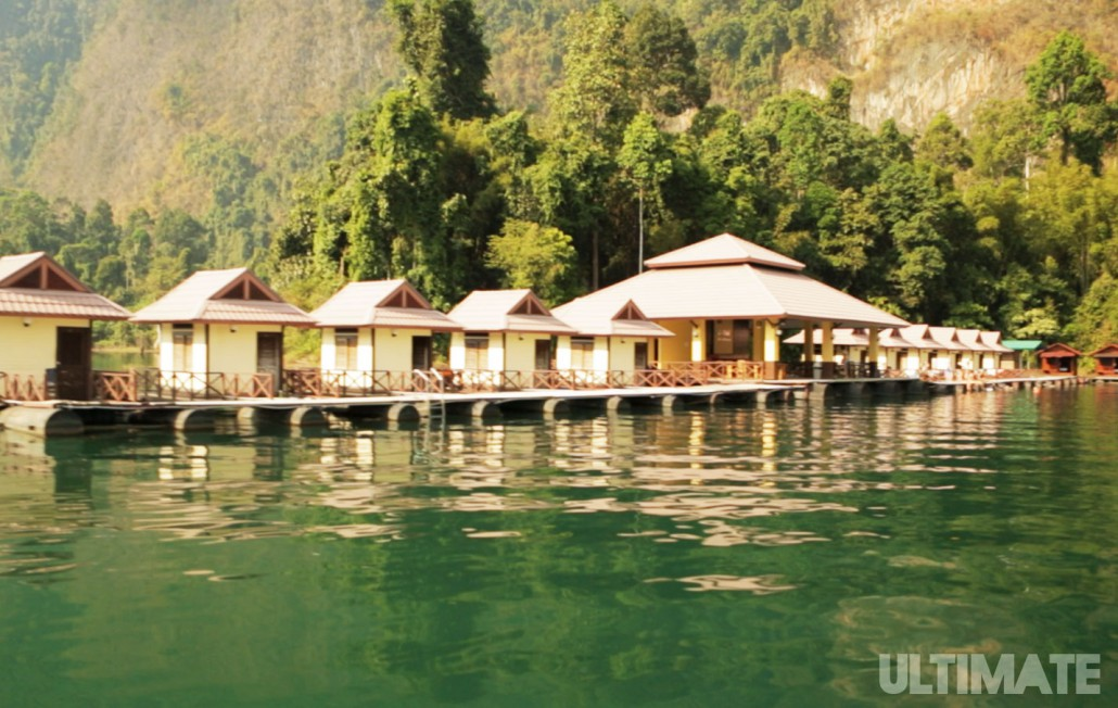 Floating bungalows in Khao Sok National Park where we stay during our 10 day Ultimate Thailand tour!