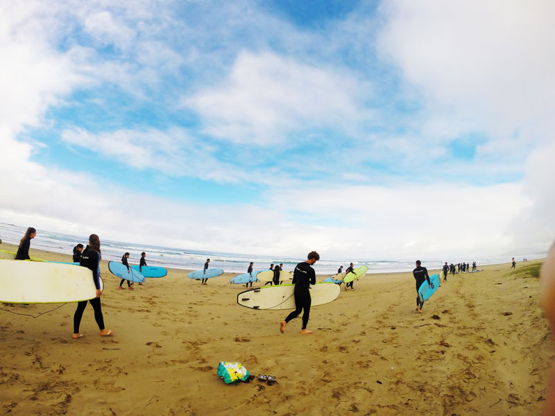 The beginners beach at Surfcamp