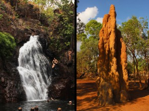 Termite mounds and waterfalls in Kakadu National park