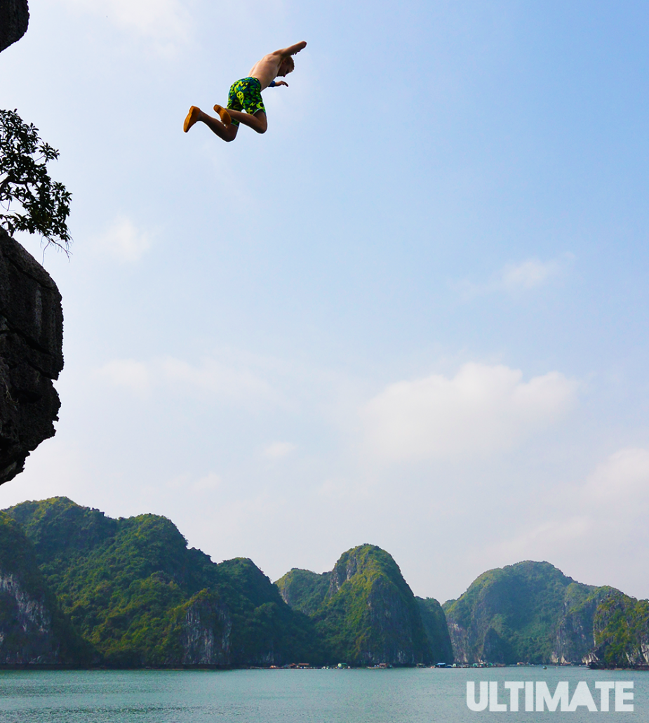 Cliff jumping in Halong Bay