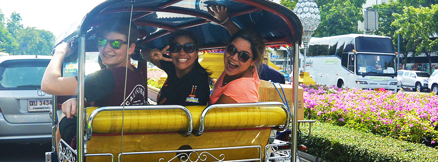 Riding a tuktuk in Bangkok
