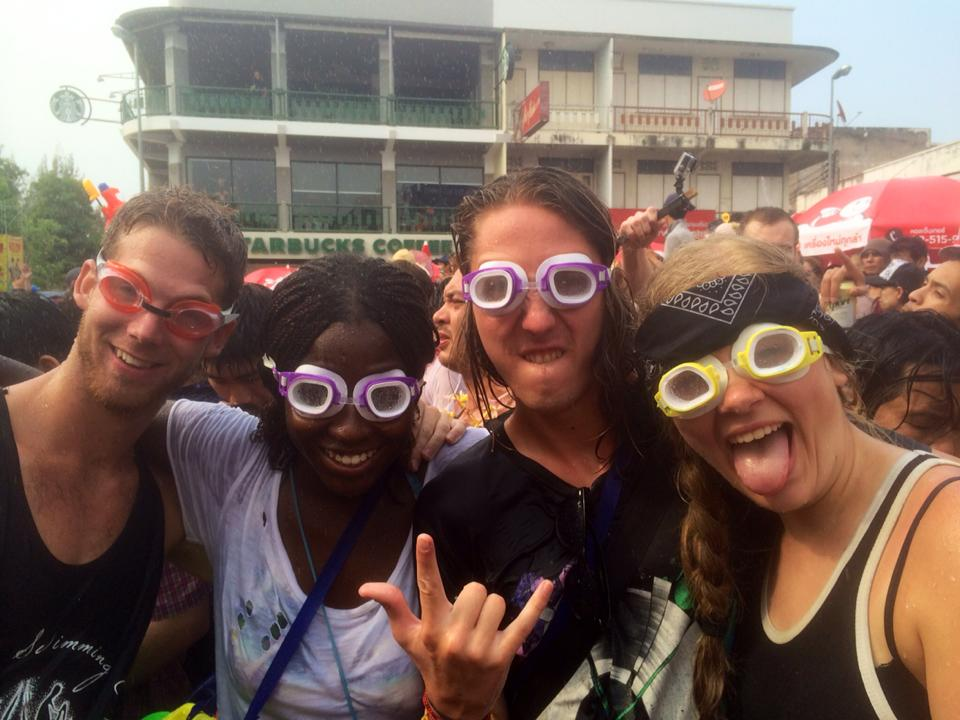 Wear goggles to protect your eyes during Songkran
