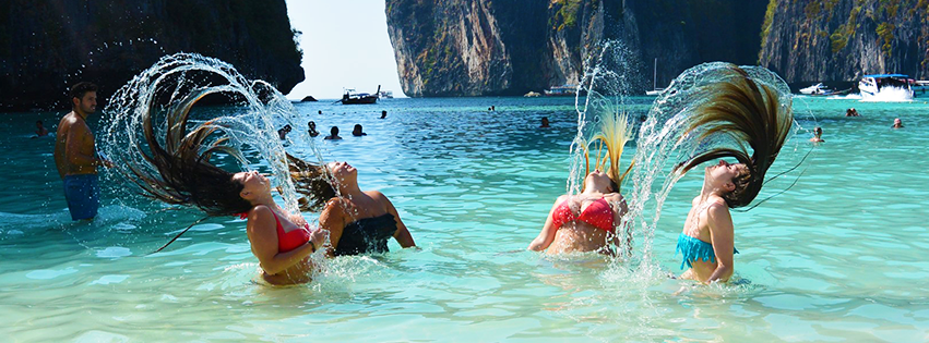 Hair flick in Maya Bay