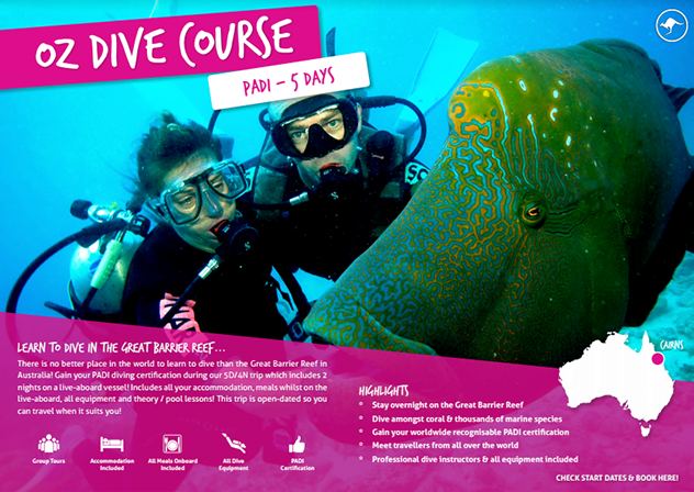 Download your free brochure - PADI dive course Australia