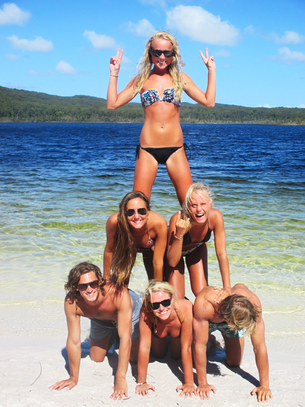 Chilling with mates at Lake McKenzie on Fraser Island