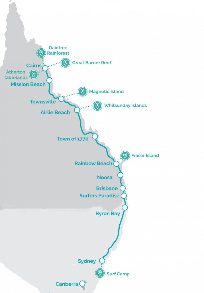 Backpacker Tours Australia Map East Coast
